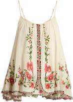 Mes Demoiselles Josephine floral-embroidered cotton top