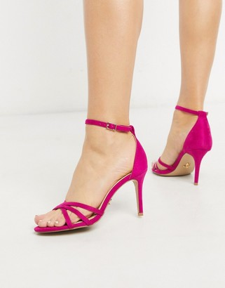 Lipsy strappy barely there heeled sandal in raspberry