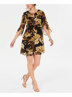 Connected Apparel Womens Yellow Floral Bell Sleeve Jewel Neck Short Sheath Dress Plus UK Size:14