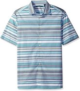 Perry Ellis Men's Big and Horizontal Stripe Pattern Shirt