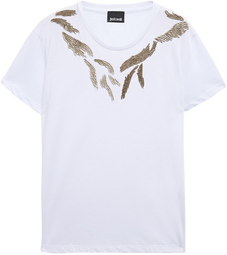 Just Cavalli Bead-embellished Cotton-jersey T-shirt