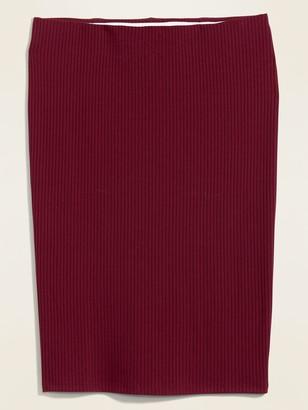 Old Navy High-Waisted Rib-Knit Plus-Size Midi Pencil Skirt