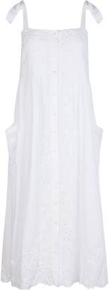 Juliet Dunn Embroidered Washed Cotton Midi Dress