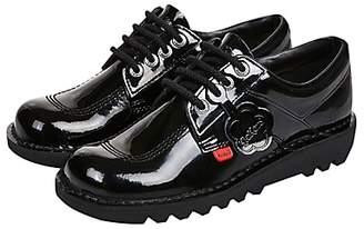 Kickers Children's Kick Lo Lace Up Shoes, Black Patent