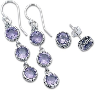 Samuel B. Sterling Silver Amethyst Earrings Set