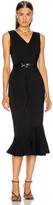 Victoria Beckham Frill Hem Belted Midi Dress in Black | FWRD
