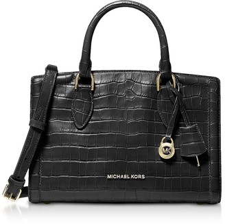 Michael Kors Zoe Medium Crocodile-Embossed Leather Satchel