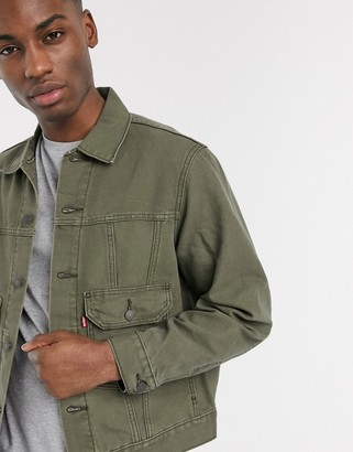 Levi's Ironic Iconic canvas trucker jacket patch pockets in olive night green