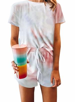 Actloe Womens Cute Tie-Dye Short Sleeve Print Tee and Shorts Pajamas Sets Pjs Sets Sleepwear Shorts Sets 2XL Multilcolored