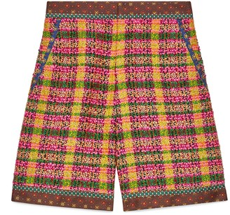 Gucci Check tweed shorts with silk trims