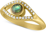 Rachel Roy Gold-Tone Abalone-Look and Crystal Studded Ring