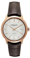 Raymond Weil Men's 'Maestro' Swiss Stainless Steel and Leather Automatic Watch, Color:Brown (Model: 2237-PC5-65001)