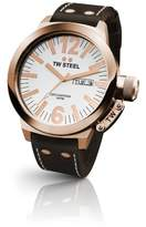 TW Steel Unisex Quartz Watch with White Dial Analogue Display and Brown Leather Strap CE1017
