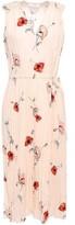Vince Pleated Floral-print Crepe De Chine Midi Dress
