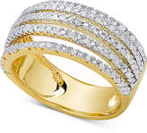 Macy's Diamond Multi-Band Statement Ring (1/2 ct. t.w.) in Sterling Silver or 18k Gold-Plated Sterling Silver