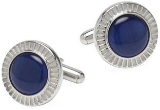 Cufflinks Inc. Ox & Bull Trading Co. Radiant Blue Catseye Stainless Steel Cufflinks