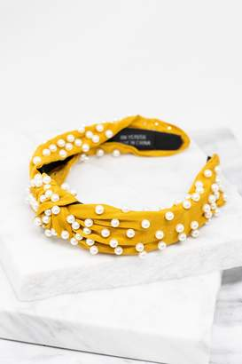 The Mint Julep Boutique Such A Sweet Girl Mustard Pearl Studded Headband