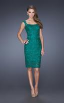 La Femme 20515 Lace Square Neck Column Dress