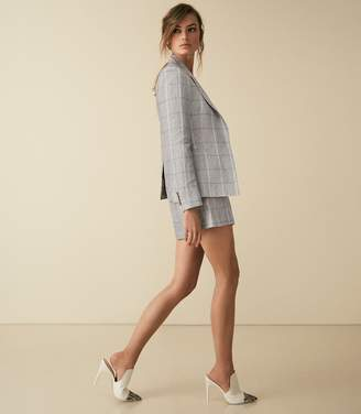 Reiss Willow Short - Checked Tailored Shorts in Grey/blue
