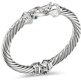 David Yurman Sterling Silver Cable Buckle Bracelet with Hampton Blue Topaz & Diamonds