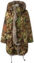 DSQUARED2 fur trim camouflage parka