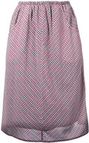 Caramel gathered checked skirt - women - Cotton/Viscose - 8