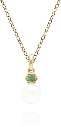 Gemondo Emerald & White Pearl Pendant in Yellow Gold