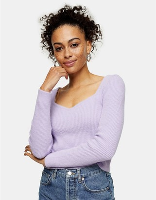 Topshop sweetheart neckline fluffy jumper in lilac