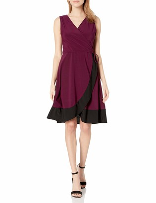 Star Vixen Women's Sleeveless Surplice Bodice Tulip Wrap Skirt Short Dress with Narrow Self-Tie Belt and Wide Colorblock Hem
