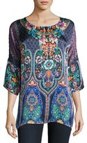 Johnny Was Malakye Dolman-Sleeve Floral-Print Top, Blue