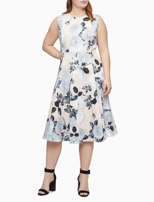 Calvin Klein Plus Size Floral Sleeveless Fit + Flare Dress