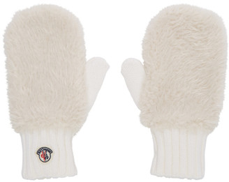 Moncler White Shearling Mittens