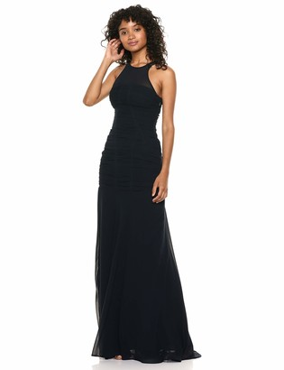 Halston Women's Sleeveless HIGH Neck Fitted Ruching Gown