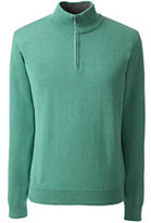 Lands' End Men's Tall Supima Half-zip Mock Turtleneck-Dark Camel Heather
