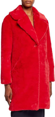 Adrienne Landau Plush Faux Fur Coat, Red