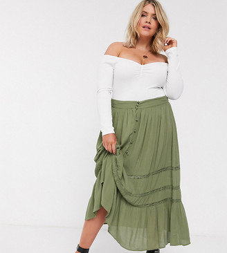ASOS DESIGN Curve tiered crinkle maxi skirt with lace insert in khaki