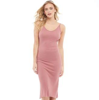 Brave Soul Womens Rib V-Neck Midi And Low Back Dress Ash Rose