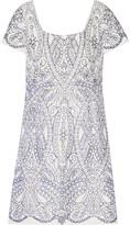 Marchesa Embroidered cutout satin mini dress