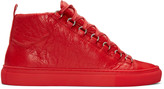 Balenciaga Red Leather Arena High-top Sneakers