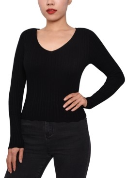 Planet Gold Juniors' Rib-Knit Strappy-Back Sweater