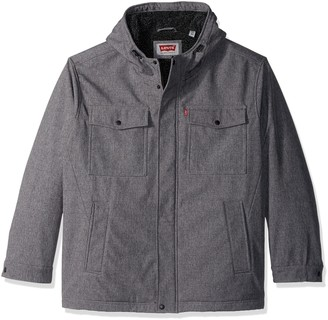 Levi's Men's Soft Shell Two Pocket Hooded Trucker Jacket with Full Sherpa Lining