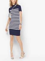 Michael Kors Striped Mock-Neck Dress