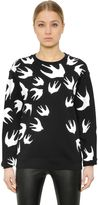McQ by Alexander McQueen Swallow Printed Cotton Jersey Sweatshirt