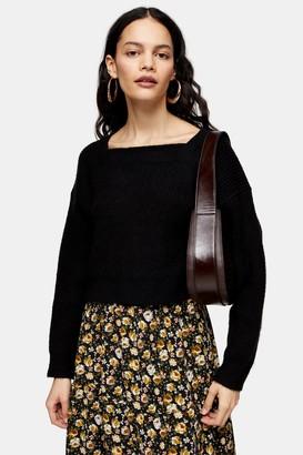 Topshop Black Super Soft Square Neck Sweater