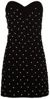 Saint Laurent Crystal-embellished Smocked-velvet Mini Dress - Womens - Black