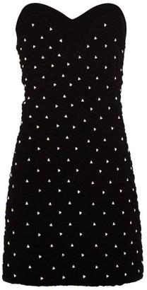 Saint Laurent Crystal-embellished Smocked-velvet Mini Dress - Black