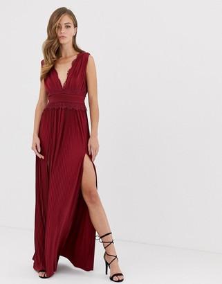 Asos Design DESIGN premium lace insert pleated maxi dress-Red