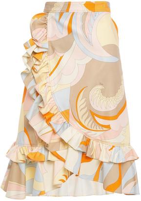 Emilio Pucci Ruffled Printed Cotton-blend Pique Wrap Skirt
