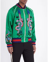 Gucci Dragon Embroidered Silk Bomber Jacket