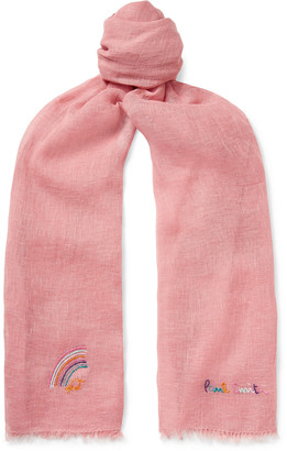 Paul Smith Logo-Embroidered Linen Scarf